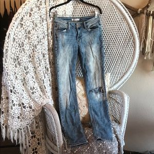 Denim - Medium Wash Distressed Jeans